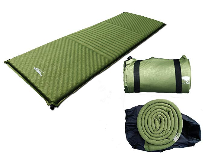 Luxe Tempo 1.5-2 inch Camping Mattress Suede Self Inflating Sleeping Pad Tent Sleeping Mat Wide Non Slip Cozy Suede with Great Cushion