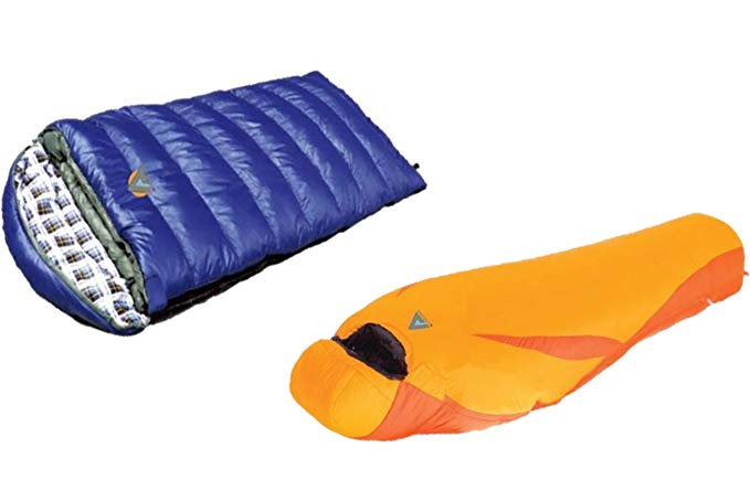 Alpinizmo High Peak USA Latitude 0F Sleeping Bag & Kodiak 0F Sleeping Bag Combo Set, Orange/Blue, One Size
