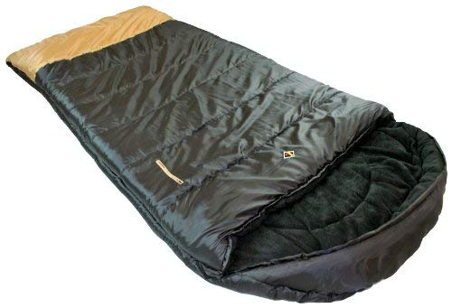 Ledge Sports Big Horn +0 F Degree XL Oversize Fleece Lined Sleeping Bag (90 X 40, Black)