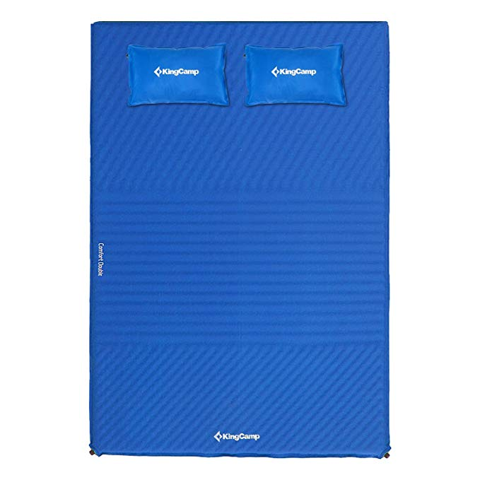 KingCamp TRIPLE ZONE Double Self Inflating Camping Sleeping Pad Mat with 2 Pillows