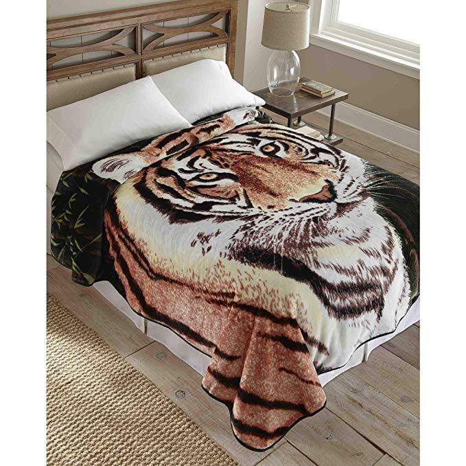 Shavel Home Products Hi Pile Raschel Knit 90-inch Oversized Blanket Tiger